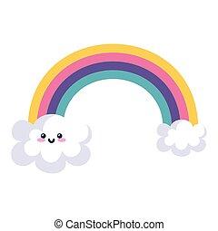 cute rainbow with clouds kawaii style