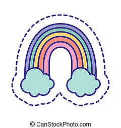 Cute rainbow with clouds patch line and fill style icon vector design