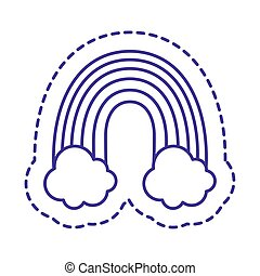 Cute rainbow with clouds patch line style icon vector design