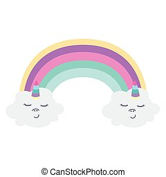 cute rainbow with clouds unicorn kawaii style