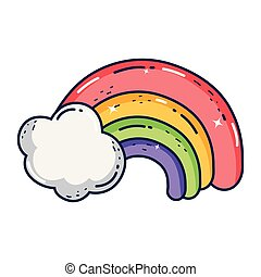 cute rainbow with clouds