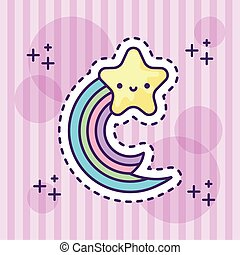 cute rainbow with star kawaii style