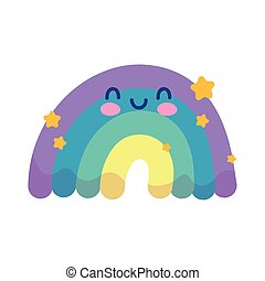 cute rainbow with stars decoration isolated design white background