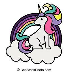 cute rainbow with unicorn kawaii character