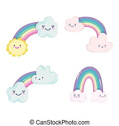 cute rainbows clouds sun weather sky cartoon decoration