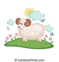 Cute Ram on a meadow with flowers.