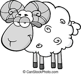 Cute Ram Sheep In Gray Color