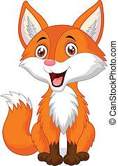 cute, raposa, caricatura