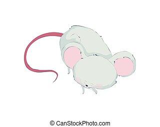 Cute rat asleep. Vector illustration on white background.
