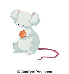 Cute rat holding cheese. Vector illustration on white background.