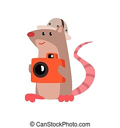 Cute rat taking pictures with a camera, funny animal cartoon character traveling on vacation vector Illustration on a white background