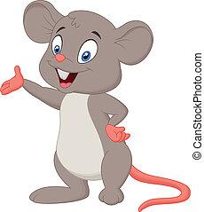 cute, rato, caricatura, apresentando