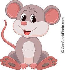 cute, rato, caricatura