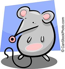 cute, rato, caricatura, ilustração
