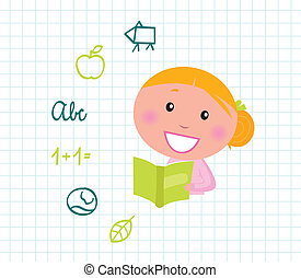 Cute reading blond Girl reading Book, School icons & elements
