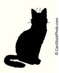 Cute realistic cat sitting. Vector illustration of silhouette of kitty. Black figure on white background. Element for your design, print, sticker. Fluffy black cat