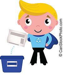 Cute recycle superhero boy separating garbage - Little boy...