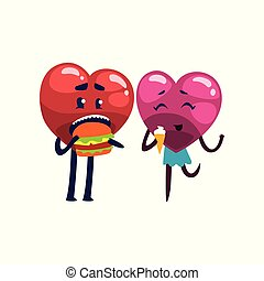 Cute red and pink hearts characters eating together, funny couple in love. Happy Valentines Day concept cartoon vector Illustration