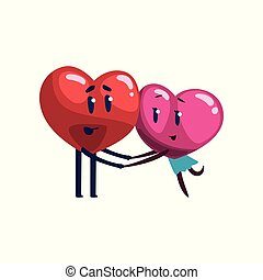 Cute red and pink hearts characters embracing, funny couple in love. Happy Valentines Day concept cartoon vector Illustration