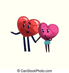 Cute red and pink hearts characters holding hands and looking at something, funny couple in love. Happy Valentines Day concept cartoon vector Illustration