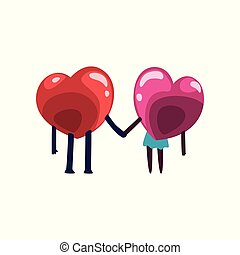 Cute red and pink hearts characters holding hands, funny couple in love, back view. Happy Valentines Day concept cartoon vector Illustration