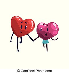 Cute red and pink hearts characters holding hands, funny couple in love. Happy Valentines Day concept cartoon vector Illustration