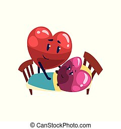 Cute red and pink hearts characters lying in the bed, funny couple in love. Happy Valentines Day concept cartoon vector Illustration