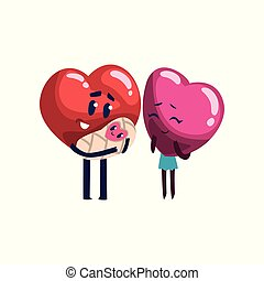 Cute red and pink hearts characters standing with their baby, funny couple in love. Happy Valentines Day concept cartoon vector Illustration