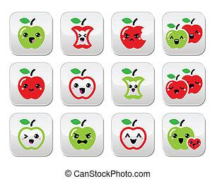 Cute red apple and green apple kawa