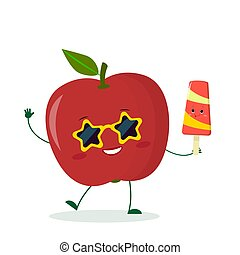 Cute red apple character in sunglasses star in the hands of a colorful ice cream. Vector illustration, a flat style
