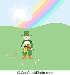 Cute red blonde leprechaun with beer and flower under rainbow