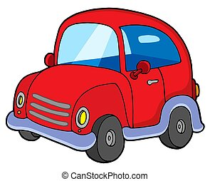Cute red car - isolated illustration.