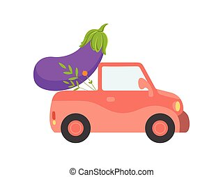 Cute Red Car Delivery Giant Eggplant, Side View, Shipping of Fresh Garden Vegetables Vector Illustration