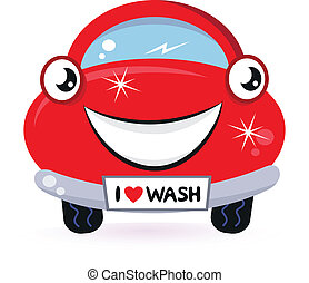 Cute red car wash isolated on white - Car wash - happy red...