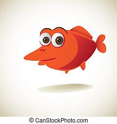 cute red cartoon fish - illustration