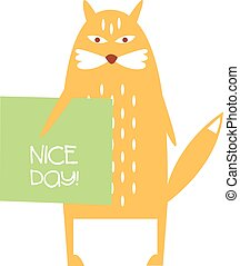 Cute Red cat with a sign for text