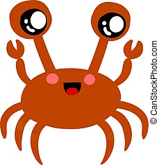 Cute red crab, illustration, vector on white background.