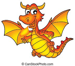 Cute red dragon - color illustration.
