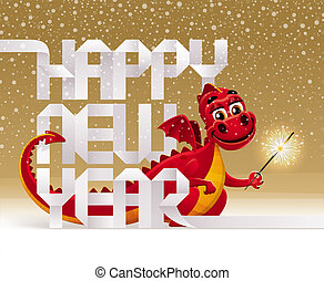 Cute red dragon with a sparkler and greeting sign from paper...