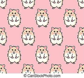 Cute Red Eyes Hamster on Pink Background