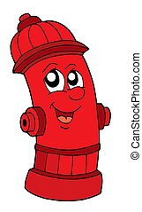 Cute red fire hydrant - isolated illustration.