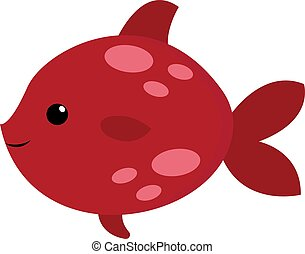 Cute red fish, illustration, vector on white background.