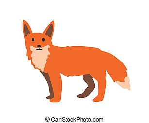 Cute red fox. Flat vector illustration. Isolated on white background.