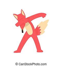 Cute red fox standing in dub dancing pose, cartoon animal...