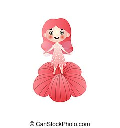 Cute red hair fairy girl with dotted dress