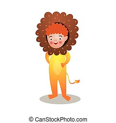 Cute red hair smiling boy in king lion costume