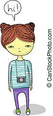 cartoon girl with camera