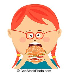 Cute red haired little girl eating a hamburger on white background