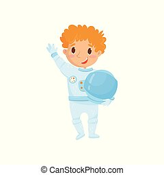 Cute red-haired teen boy wants to be cosmonaut in future. Cartoon child wearing astronaut costume and holding protective helmet. Dream profession. Flat vector design