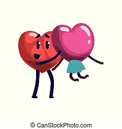 Cute red heart holding girlfriend, funny couple in love characters. Happy Valentines Day concept cartoon vector Illustration